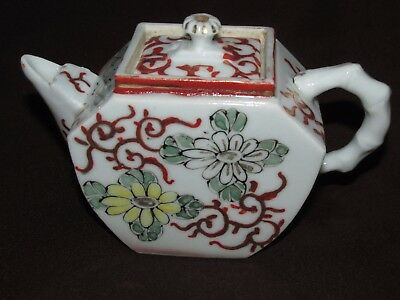 Antique Asian Chinese Porcelain TEAPOT TEA POT H/Painted Flowers & Finial Knob
