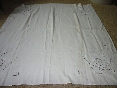 VINTAGE ANTIQUE CUTWORK LINEN TABLECLOTH  54 x 54