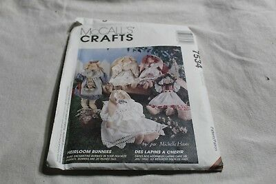 "McCalls Pattern 7534 Uncut 20"" Heirloom Bunnies With Dress Bonnet Bloomers Bunny"