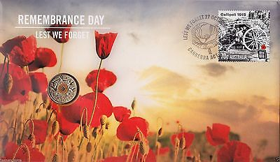 2015 Australian PNC: Remembrance Day - Lest We forget-  Coin and Stamp Pack