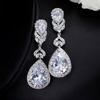 Crystal Teardrop Earrings, Silver For Wedding, Bride - Clear Or Champagne