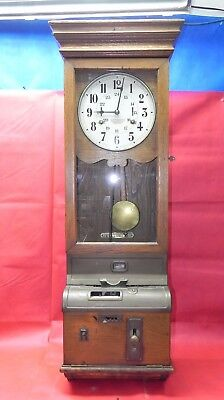 Rare Antique 1890 Hollerith French Time Recording Punch Clock - Works Great