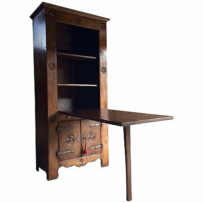 Rare 16th Century Dutch Solid Oak Cupboard Featuring a Drop-Down Farmhouse Table