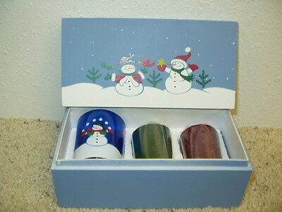 NIP AVON Snowman Votive Candle Gift Set in Blue Box Dated 2006 Christmas