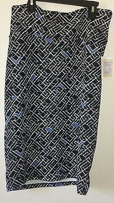 LulaRoe Cassie Skirt Knee Lenght Geometric Black White Blue Size Large