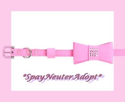 Top Paw Bubble Gum Pink Ultra Suede & Rhinestones Baby Bow Dog or Cat Collar XXS