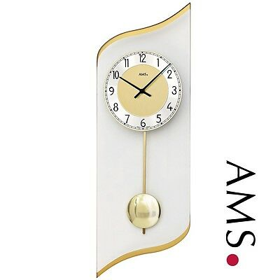 AMS 7437 Wall Clock Quartz with Pendulum MINERAL GLASS BRASS COLOURED Living