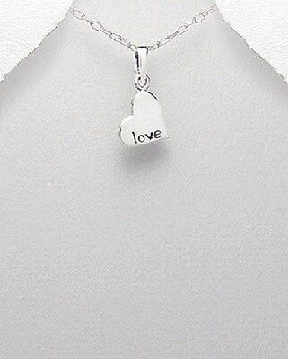 Ladies Girls Solid Sterling Silver 925 Love Heart EngravableTag Disc Pendant
