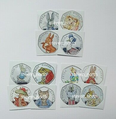 1 Full Set Of Beatrix Potter 2016/17/18 50p Decals/Stickers •FAST AND FREE POST•