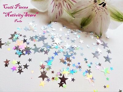 Nail Art Holographic *Silver Xmas Nativity Stars* Small Pack Spangle Glitter P4