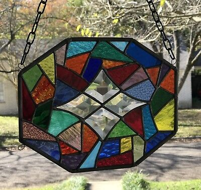 Stained Glass Window Suncatcher Abstract with Bevels 8x10