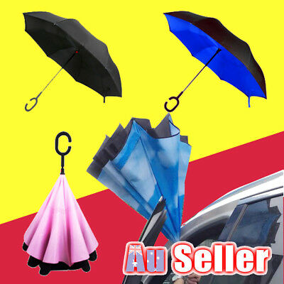 Windproof Upside Down Reverse Inverted Umbrella C-Handle Double Layer Car Use
