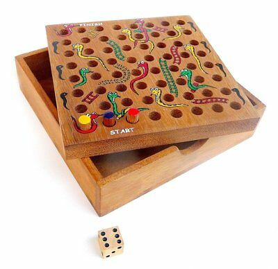 SNAKES AND LADDERS - Wooden Board Game - Teak Wood Box - Hand Made