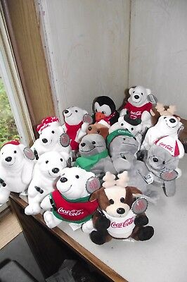 Lot of 17 Coca Cola Plush Animals Bears Reindeer Seals Penguins Multi Colors Yea