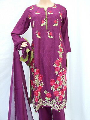 Lilen Indian Pakistani Readymade 3 piece Shalwar Kameez Embroidery