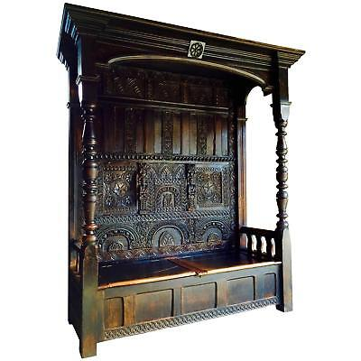 17th Century Antique Canopy Settle Bench Heavily Carved Oak Charles I