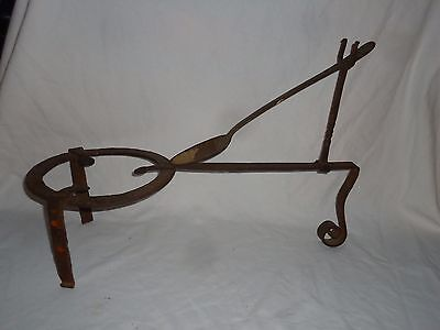Antique Fireplace Trivet With Ladle Cradle Arch,18Th Century,blacksmith Forged