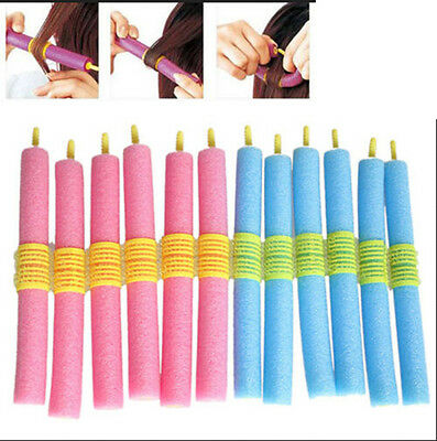 12x Soft Foam Curlers Makers Bendy Twist Curls Tool DIY Styling Hair Rollers ;!