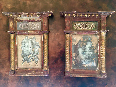 Paire De Petits Miroirs Anciens Encadres Pair Of Antique Mirrors With Framed