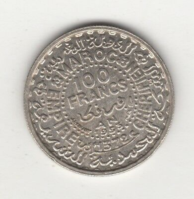 1953 1372 Morocco 100 Francs Silver Star Coin One Year Issue
