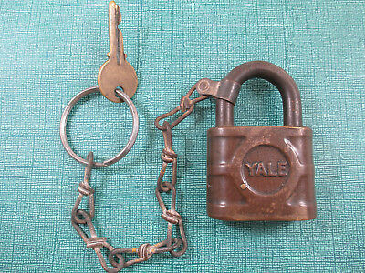 Vintage Brass Yale & Towne Super Pin Tumbler Padlock Key Antique Y&t Large Lock