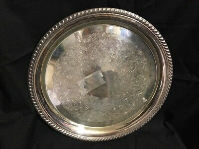 "VINTAGE WM ROGERS #171 SILVERPLATE 12"" Round Serving Tray Decorative"