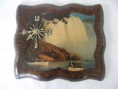 Rare Vintage Cascade Wall Clock Wooden Brown Battery Powered-Works Great