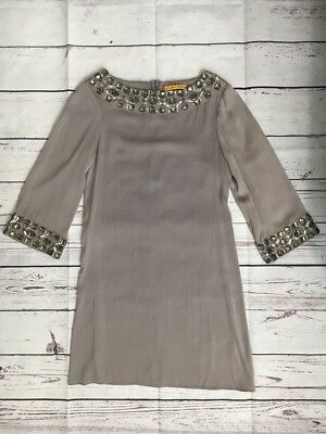 ca470a6cf0184 NWT ALICE + OLIVIA Gray 3 4 Sleeve Embellished Cocktail Dress XSMALL Beaded