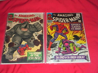 AMAZING SPIDER MAN  # 40 #41 the 1st Rhino and the end of THE GREEN GOBLIN !