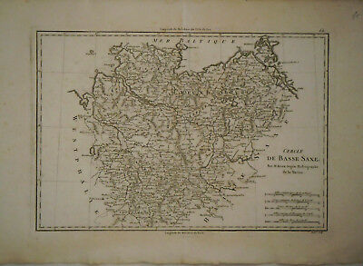 c.1780 Genuine Antique map northern Germany. Mecklenbourg. by Rigobert Bonne