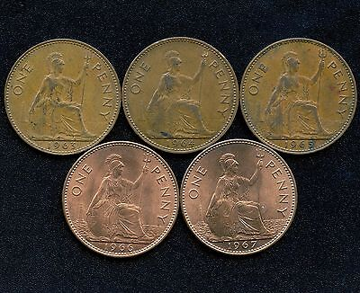 5 Great Britain 1 Penny Coins 1963 - 1967