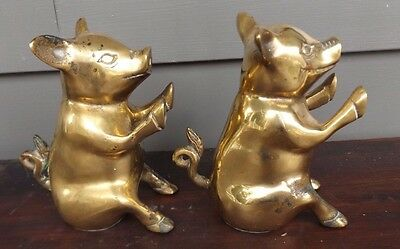 Pair of Vintage Solid Brass Pig Bookends / Figurines ~RARE & HTF