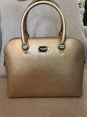 1119aee126ce Nwt Michael Kors Saffiano Leather Cindy Large Dome Satchel Bag In Pale Gold