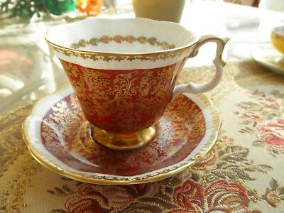 "Vintage Royal Albert Bone China "" Buckingham "" Series Cup and Saucer w/gold rim"
