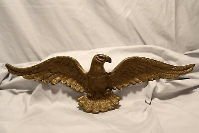 "Vintage Solid Cast Metal ""Brass"" Gold Tone Wall Hanging Eagle 19"" Wings Spread"