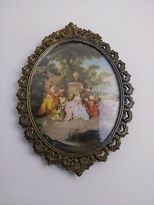 Vintage French Victorian Ornate Oval Solid Brass Picture Frame Convex Glass