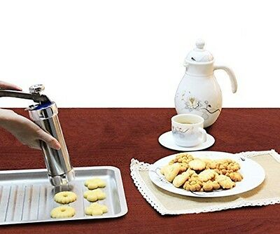 Stainless Steel Cookie Press Gun Set with Easy-Grip Trigger Handle, Premium Grad