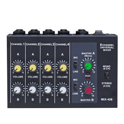 Mixer Portable Switchable Stereo 4 Mono 8 Channels Microphone Audio Mini Mixer