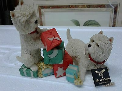 Westie Dogs Playing With Boxes Sherratt & Simpson Vintage Made In England