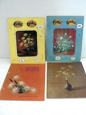 4 VINTAGE FRENCH BEADED FLOWER SOFTCOVER BOOK Bobbie Anderson 1 2 3 4