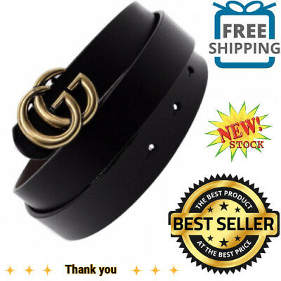 GGenuine Leather Thin Belts Fashion Womens Gucci Logo Pattern For Jeans 0.9 NEW