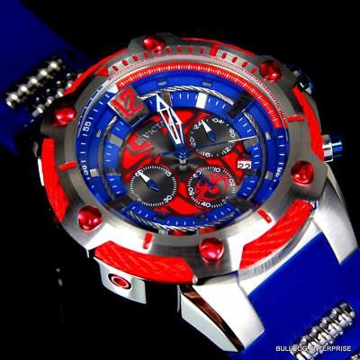 Invicta Marvel Bolt Spider Man 52mm Limited Edition Chronograph Blue Watch New