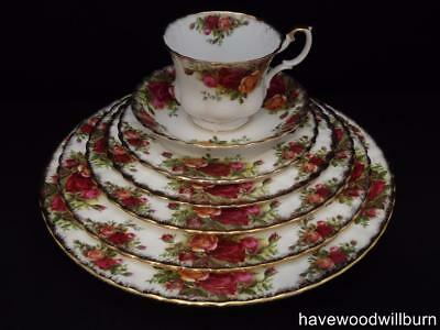 Royal Albert Old Country Roses 42 Piece RARE 5 Plate 6 Person Dinner Set 1st Eng