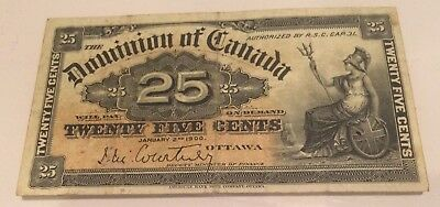 Paper money Dominion of Canada 1900 25 Cents Shinplaster January 2nd 1900 very +
