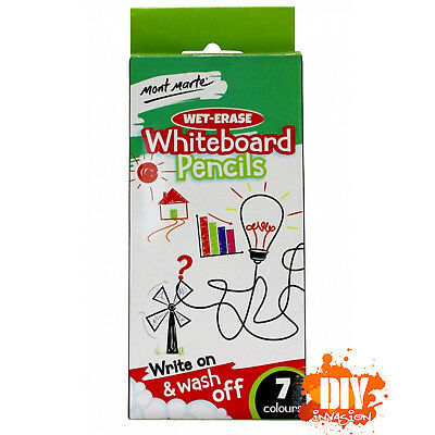 Mont Marte Wet-Erase Whiteboard Pencils 7 Colours Drawing Colouring Projects Art