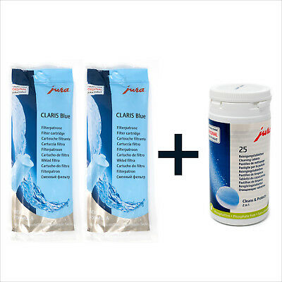 2 x Jura Claris Blue Filter + Pack of 25 Cleaning Tablets Cleaner Coffee Kit