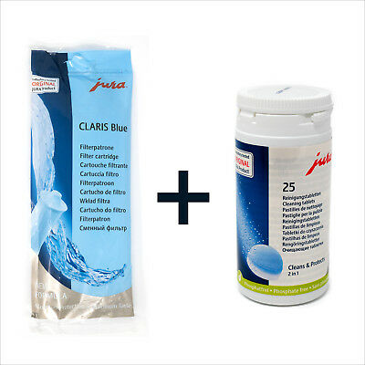 Genuine Jura Claris Blue Filter + Pack of 25 Cleaning Tablets Cleaner Coffee Kit