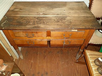Primitive Kitchen Table Antique Possum Belly Bakers Table Rustic Victorian