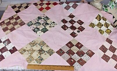 Antique American Hand Blocked Cotton Patchwork Quilt Top~Fabrics Late 1700s