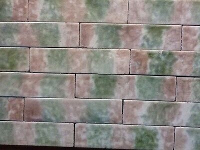 Complete Set Vintage Victorian Antique Fireplace Tile Mantle Hearth Brown Green